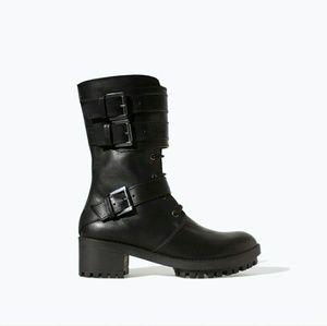 Zara Trafaluc Moto Biker Combat Boots Black sz 6